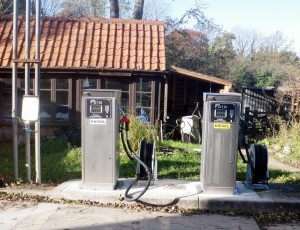Two new commercial fuel pumps instlled with hose-reels